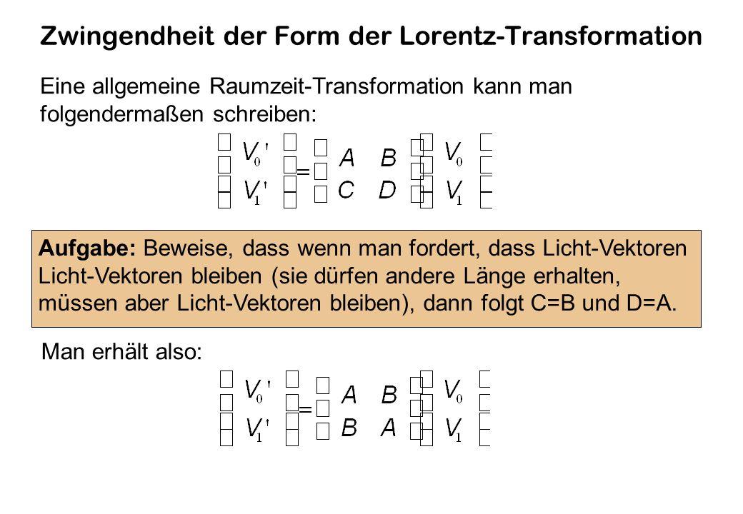 Zwingendheit der Form der Lorentz-Transformation