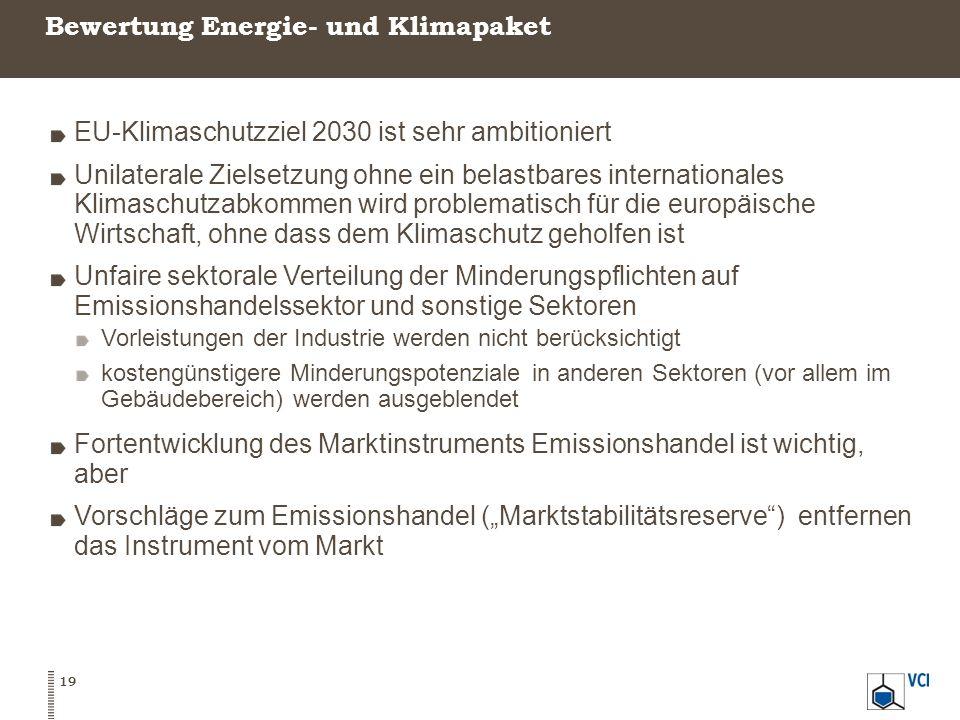 Bewertung Energie- und Klimapaket