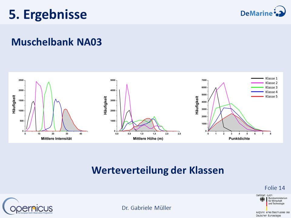 5. Ergebnisse Muschelbank NA03 Werteverteilung der Klassen