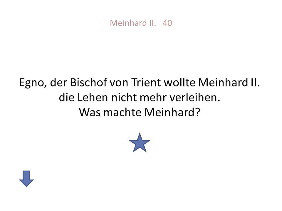 Meinhard II. 40 Egno, der Bischof von Trient wollte Meinhard II.