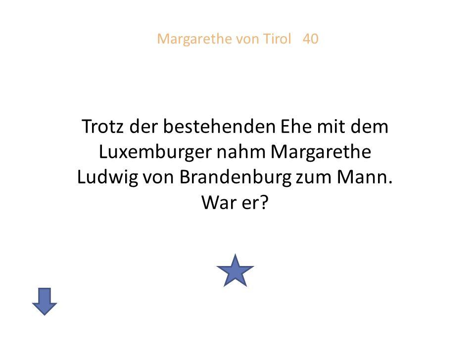 Margarethe von Tirol 40 Trotz der bestehenden Ehe mit dem Luxemburger nahm Margarethe Ludwig von Brandenburg zum Mann.