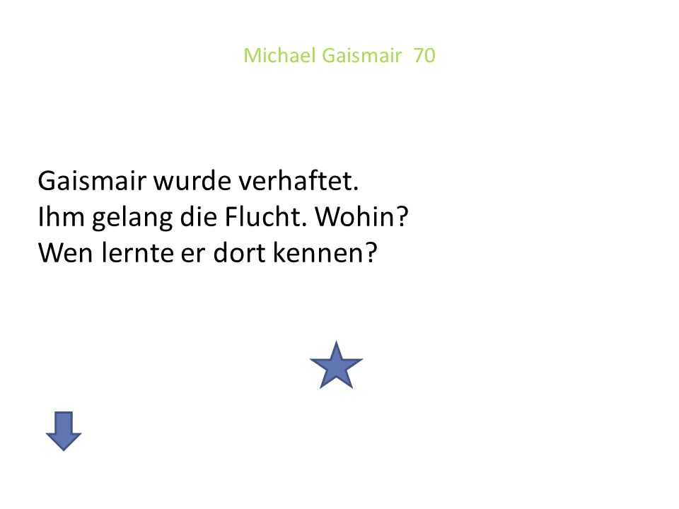 Michael Gaismair 70 Gaismair wurde verhaftet. Ihm gelang die Flucht.