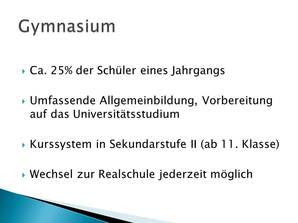 Gymnasium Ca. 25% der Schüler eines Jahrgangs