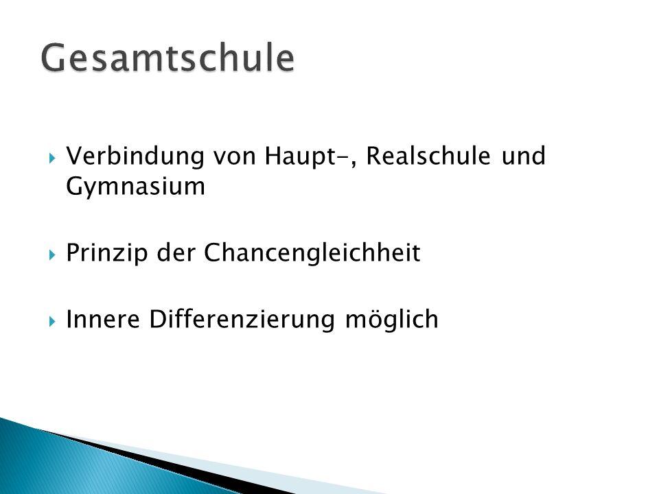Gesamtschule Verbindung von Haupt-, Realschule und Gymnasium