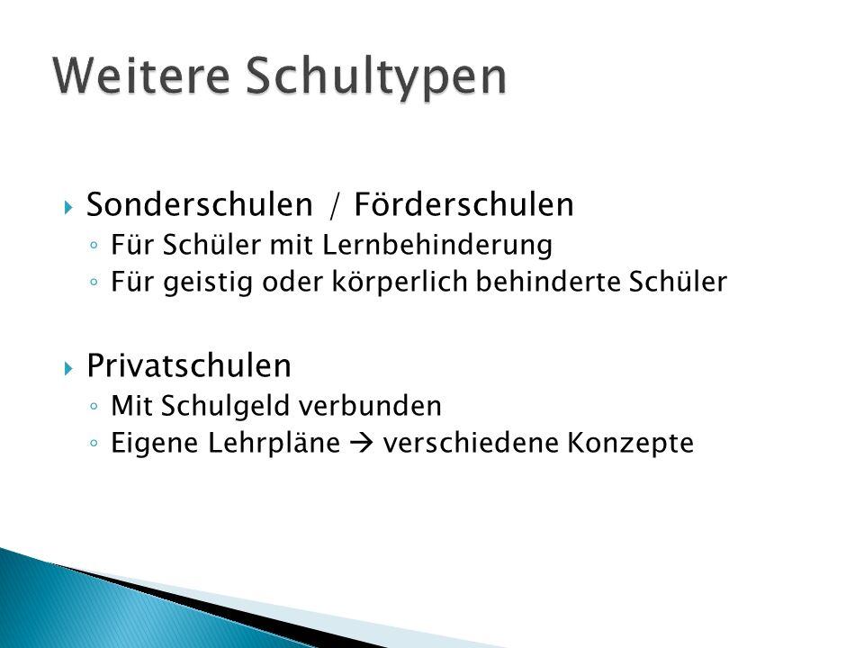 Weitere Schultypen Sonderschulen / Förderschulen Privatschulen