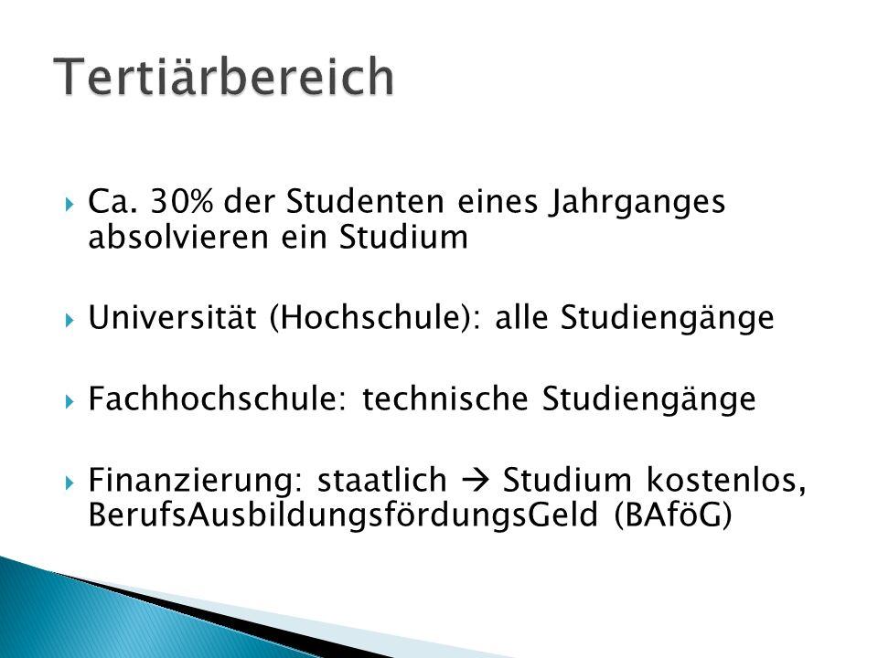 Tertiärbereich Ca. 30% der Studenten eines Jahrganges absolvieren ein Studium. Universität (Hochschule): alle Studiengänge.