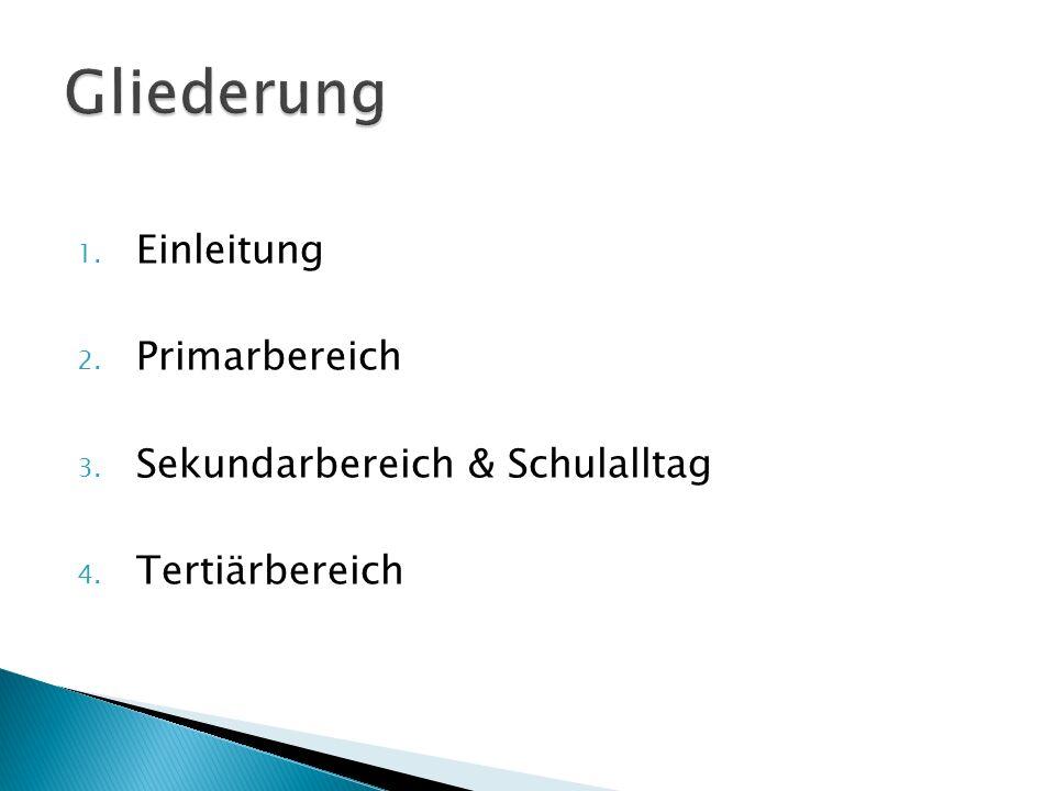 Gliederung Einleitung Primarbereich Sekundarbereich & Schulalltag