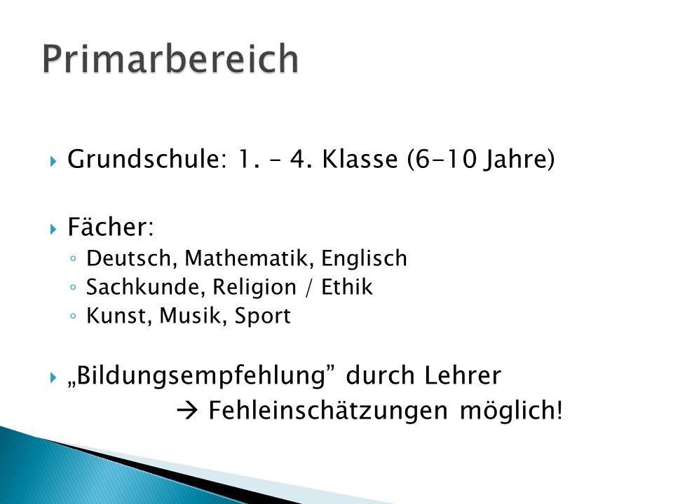 Primarbereich Grundschule: 1. – 4. Klasse (6-10 Jahre) Fächer: