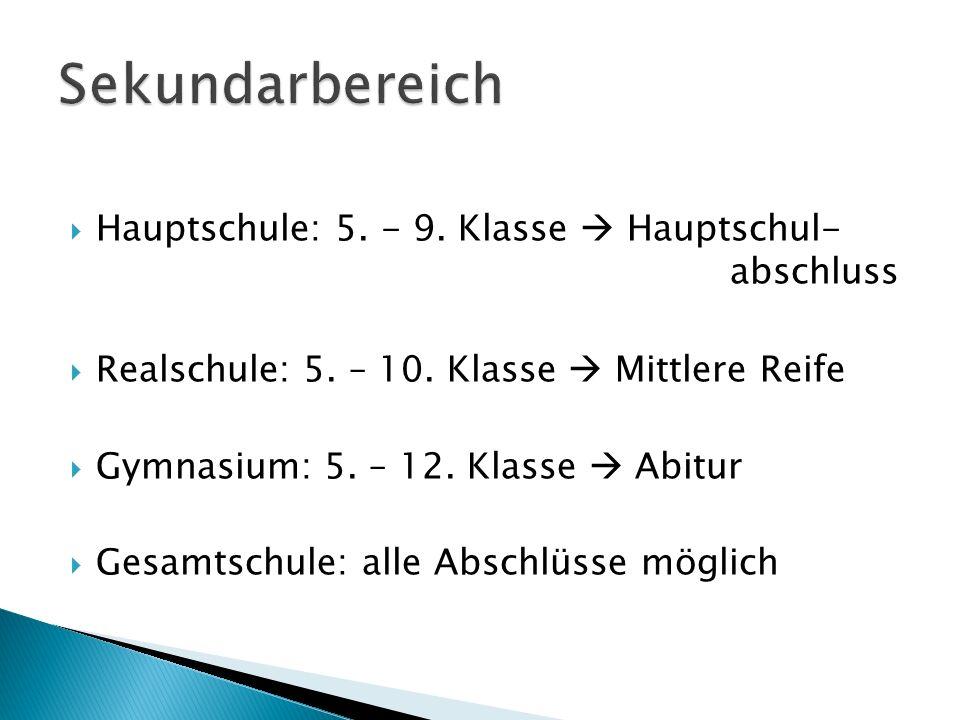 Sekundarbereich Hauptschule: 5. - 9. Klasse  Hauptschul- abschluss