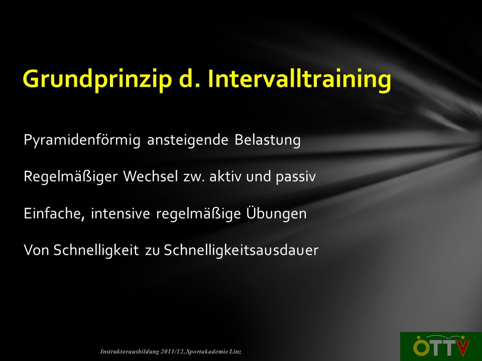 Grundprinzip d. Intervalltraining