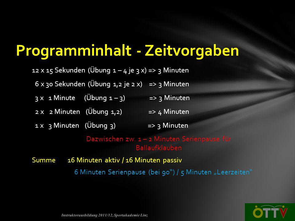 Programminhalt - Zeitvorgaben