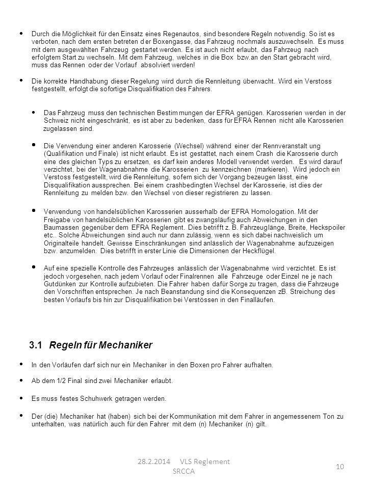 3.1 Regeln für Mechaniker 28.2.2014 VLS Reglement SRCCA ·