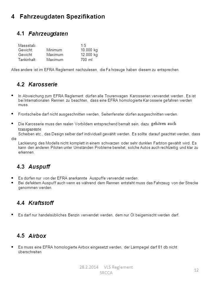 4 Fahrzeugdaten Spezifikation 4.1 Fahrzeug daten 4.2 Karosserie 4.3