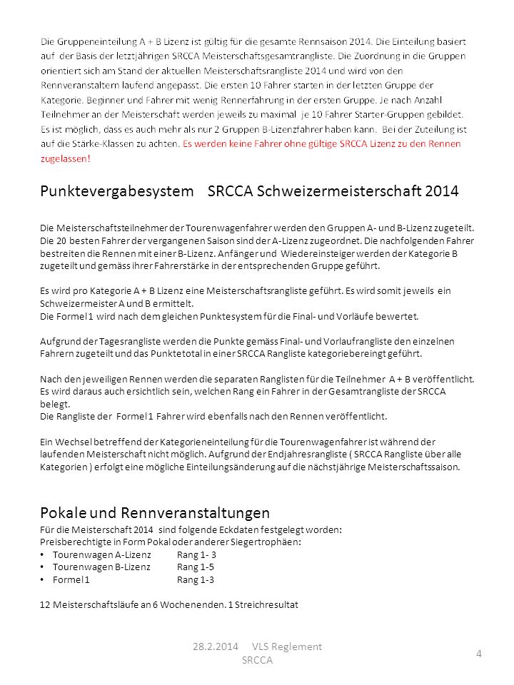Punktevergabesystem SRCCA Schweizermeisterschaft 2014