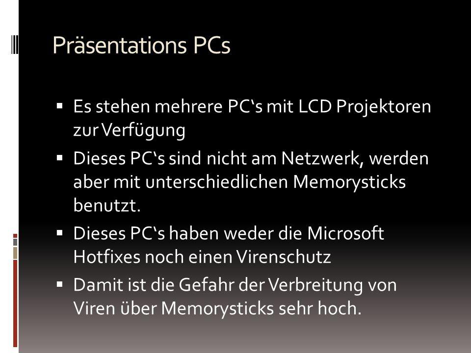 Präsentations PCs Es stehen mehrere PC's mit LCD Projektoren zur Verfügung.