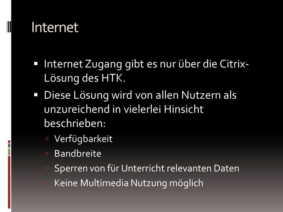 Internet Internet Zugang gibt es nur über die Citrix- Lösung des HTK.