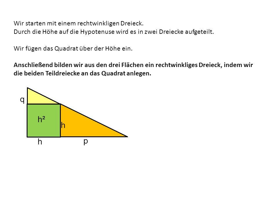q h² h p h Wir starten mit einem rechtwinkligen Dreieck.