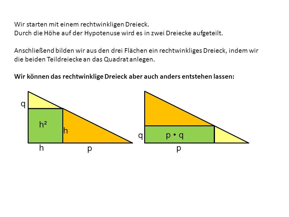 q h² h q p • q h p p Wir starten mit einem rechtwinkligen Dreieck.