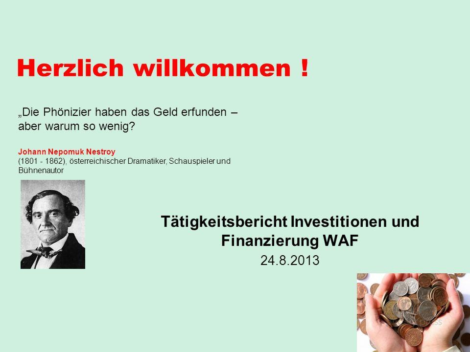 Tätigkeitsbericht Investitionen und Finanzierung WAF 24.8.2013