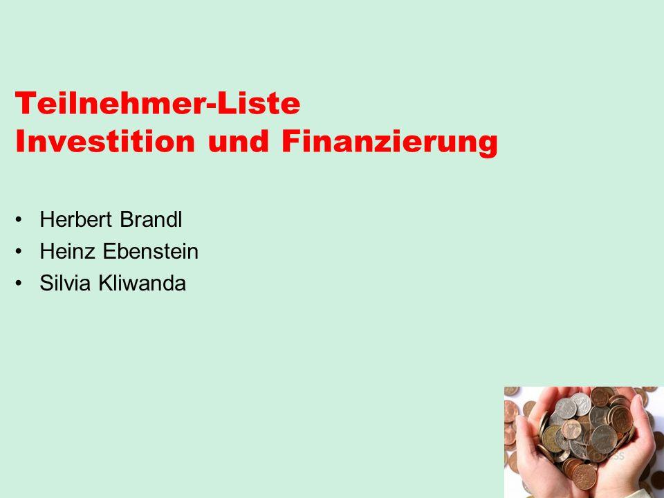 Teilnehmer-Liste Investition und Finanzierung