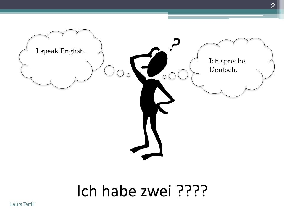 I speak English. Ich spreche Deutsch. Ich habe zwei Laura Terrill