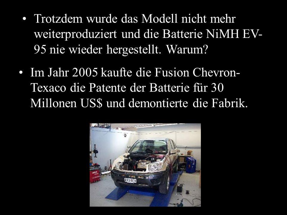 Trotzdem wurde das Modell nicht mehr weiterproduziert und die Batterie NiMH EV-95 nie wieder hergestellt. Warum