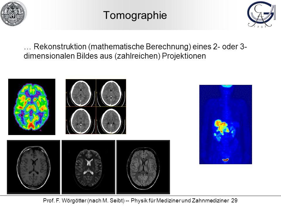 Tomographie … Rekonstruktion (mathematische Berechnung) eines 2- oder 3-dimensionalen Bildes aus (zahlreichen) Projektionen.
