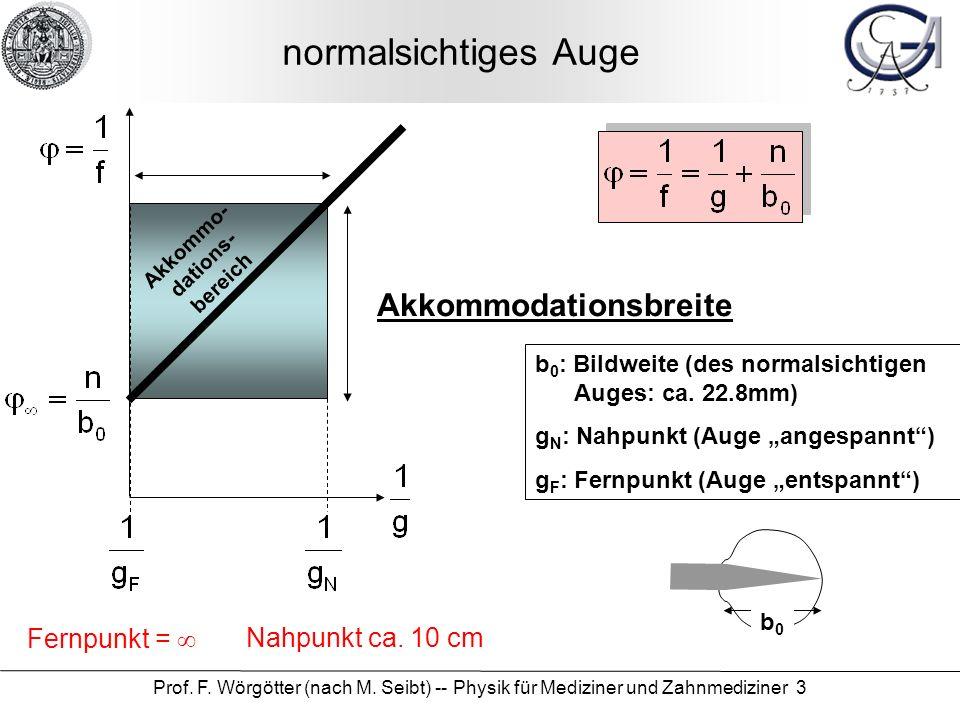 normalsichtiges Auge Akkommodationsbreite Fernpunkt = ∞