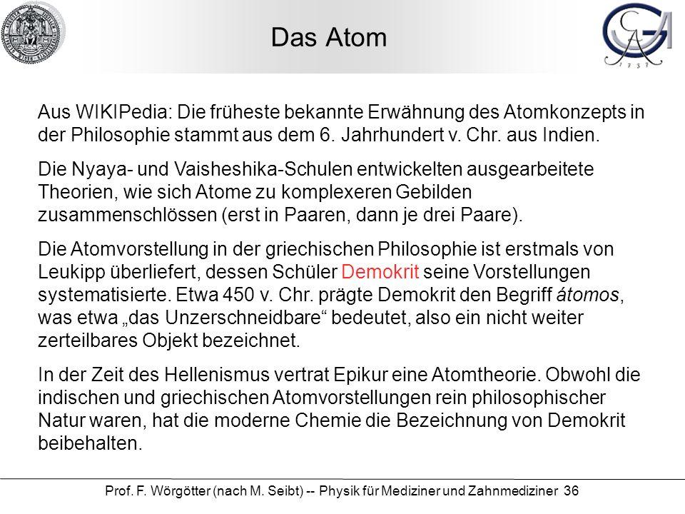 Das Atom Aus WIKIPedia: Die früheste bekannte Erwähnung des Atomkonzepts in der Philosophie stammt aus dem 6. Jahrhundert v. Chr. aus Indien.