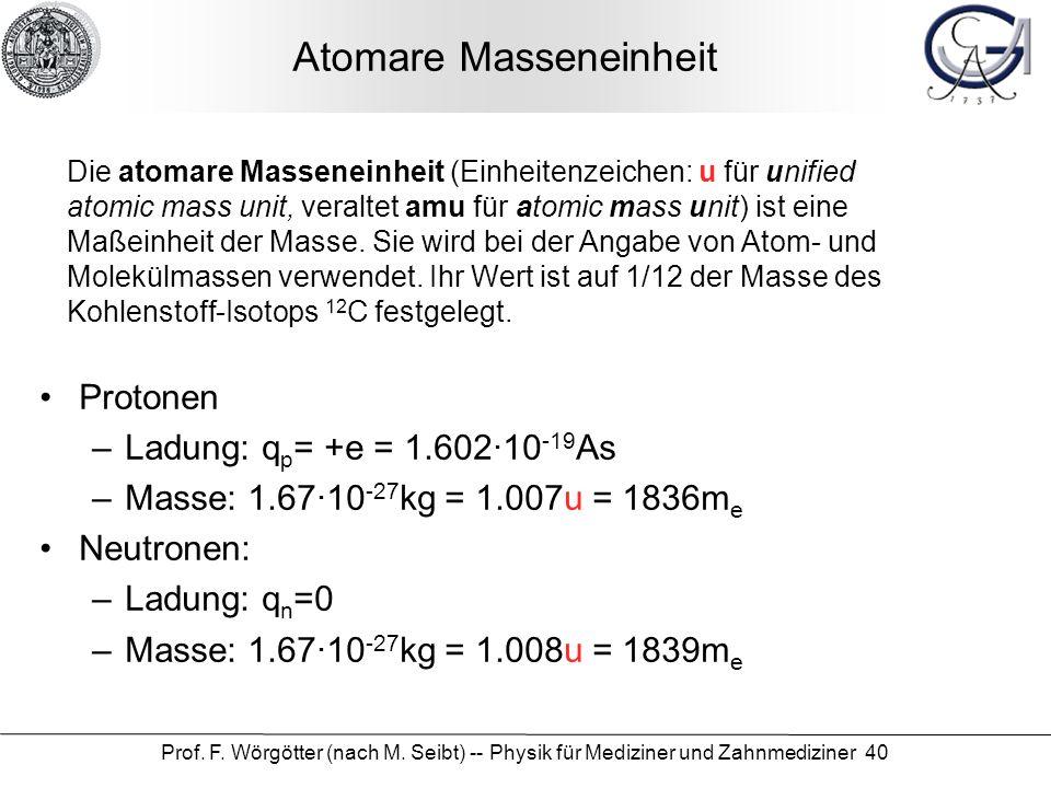Atomare Masseneinheit