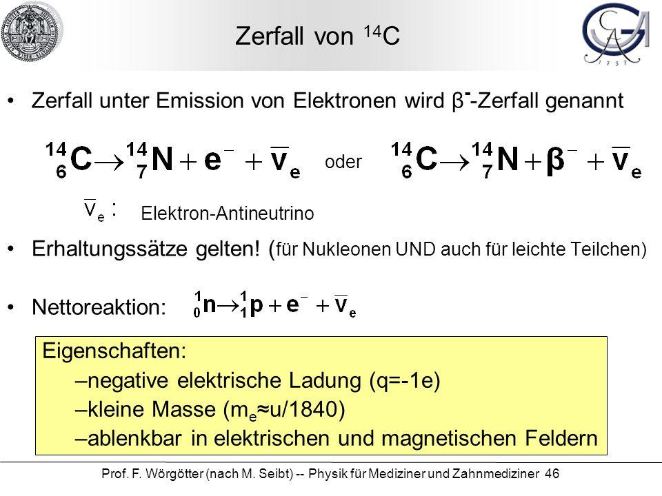 Zerfall von 14C Zerfall unter Emission von Elektronen wird β--Zerfall genannt. Erhaltungssätze gelten! (für Nukleonen UND auch für leichte Teilchen)