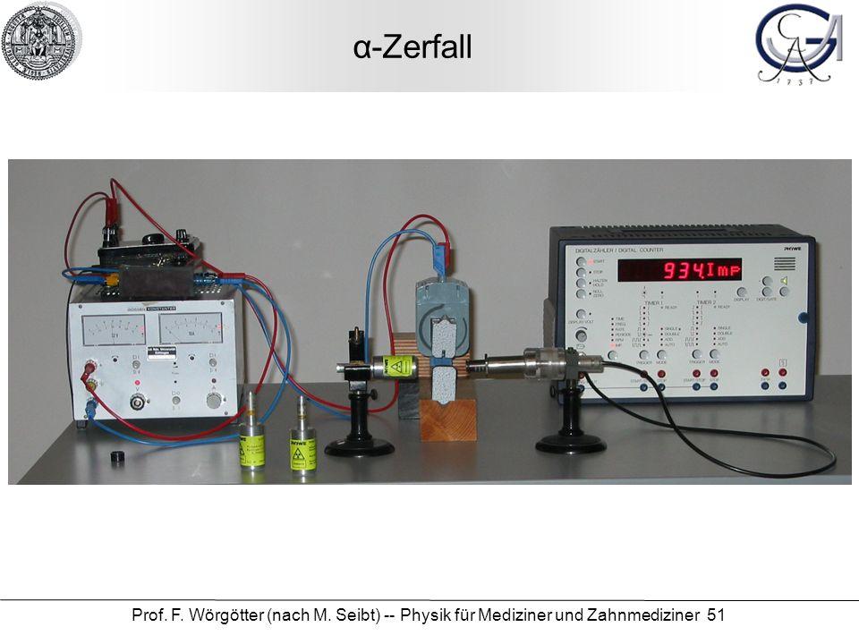α-Zerfall Prof. F. Wörgötter (nach M. Seibt) -- Physik für Mediziner und Zahnmediziner 51