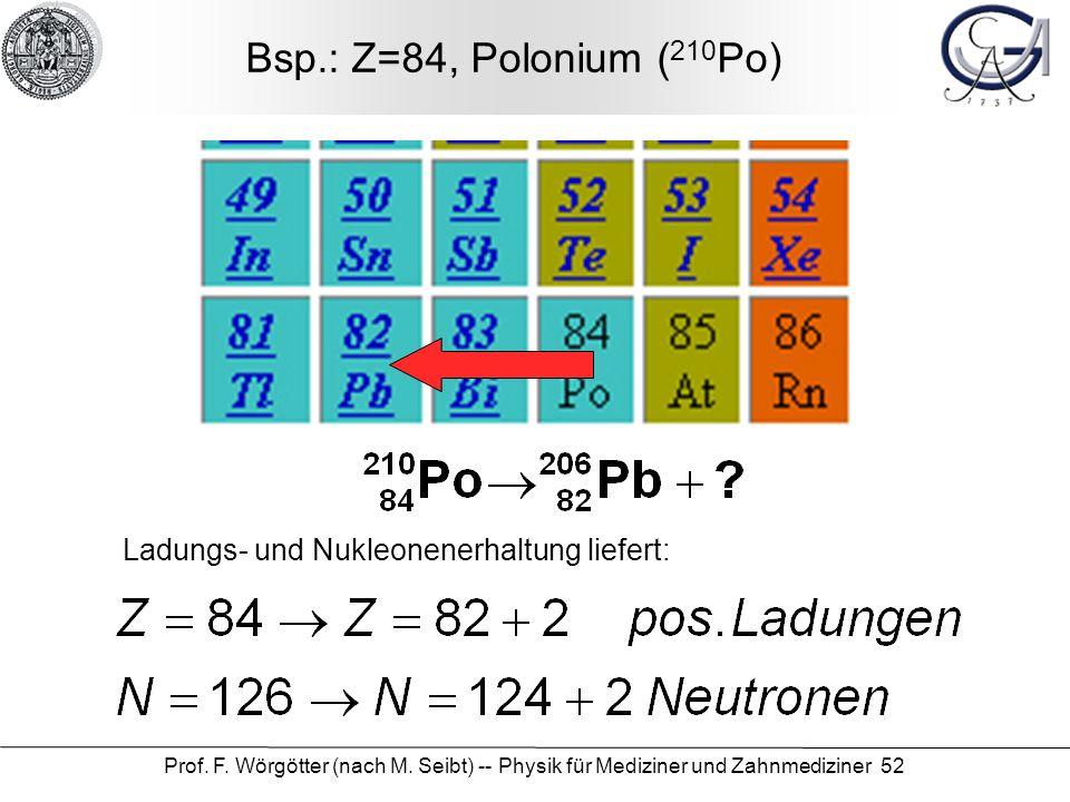 Bsp.: Z=84, Polonium (210Po) Ladungs- und Nukleonenerhaltung liefert: