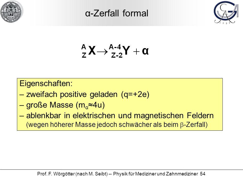 α-Zerfall formal Eigenschaften: zweifach positive geladen (q=+2e)