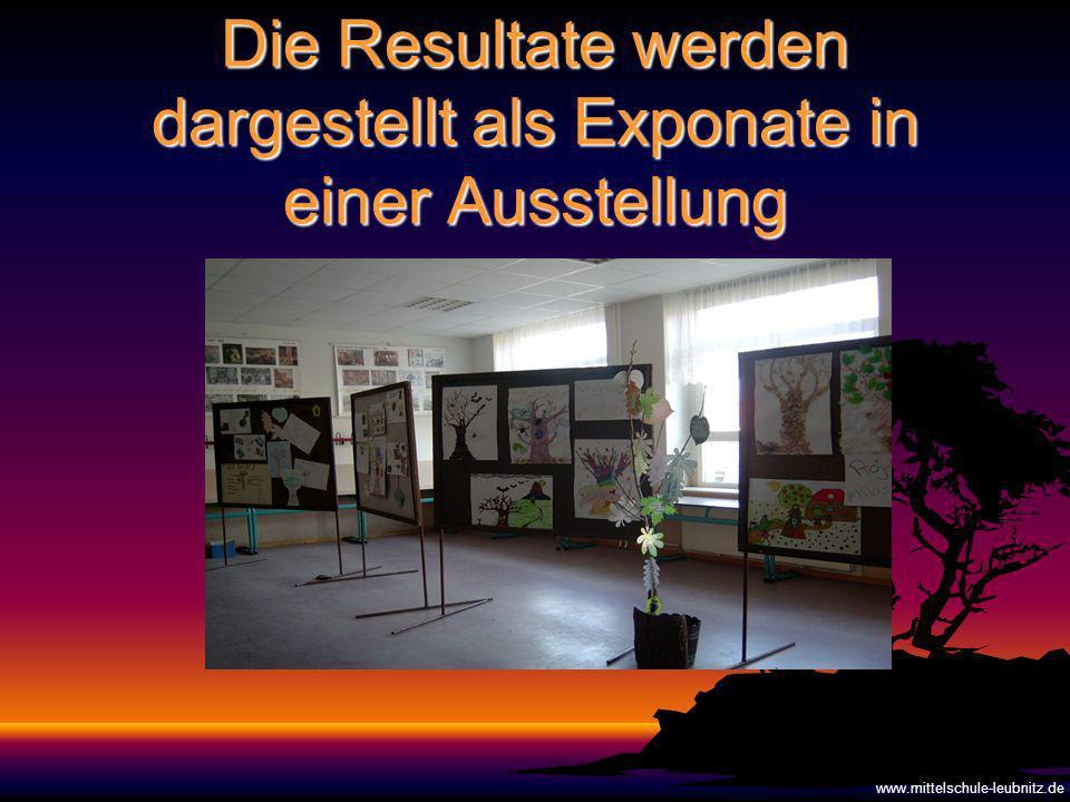 Die Resultate werden dargestellt als Exponate in einer Ausstellung