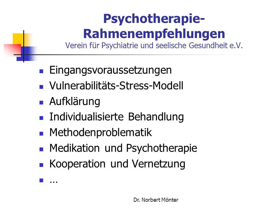 Psychotherapie-Rahmenempfehlungen Verein für Psychiatrie und seelische Gesundheit e.V.