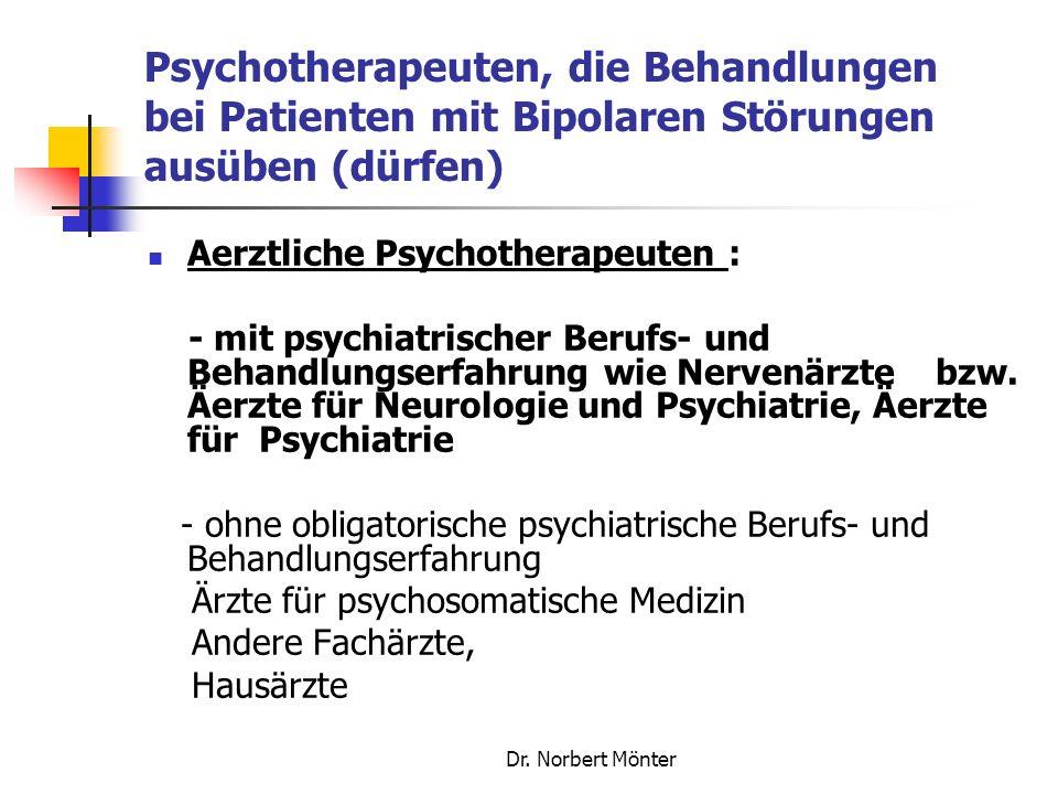 Psychotherapeuten, die Behandlungen bei Patienten mit Bipolaren Störungen ausüben (dürfen)