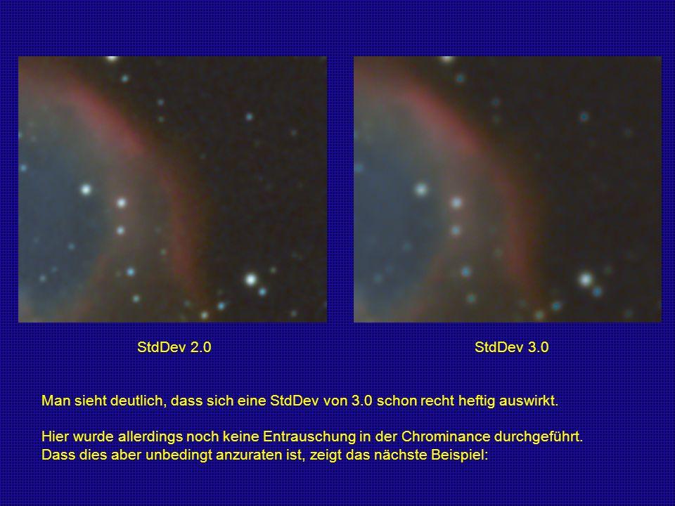 StdDev 2.0 StdDev 3.0 Man sieht deutlich, dass sich eine StdDev von 3.0 schon recht heftig auswirkt.