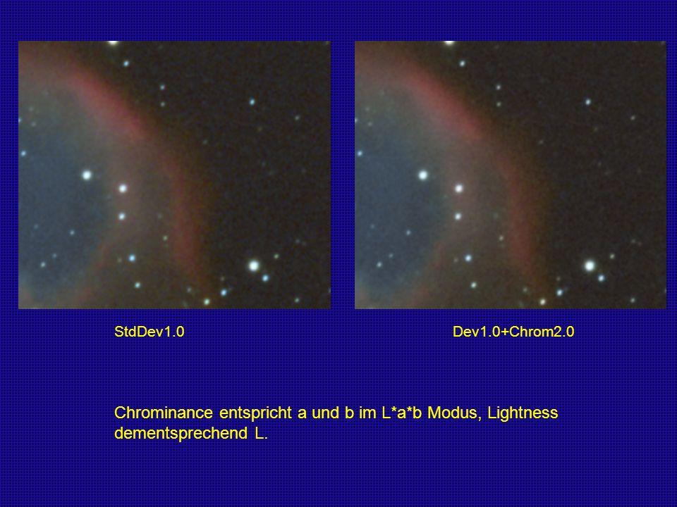 StdDev1.0 Dev1.0+Chrom2.0 Chrominance entspricht a und b im L*a*b Modus, Lightness.