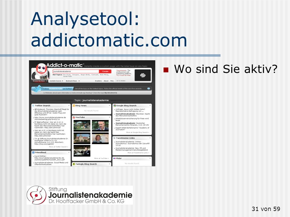 Analysetool: addictomatic.com
