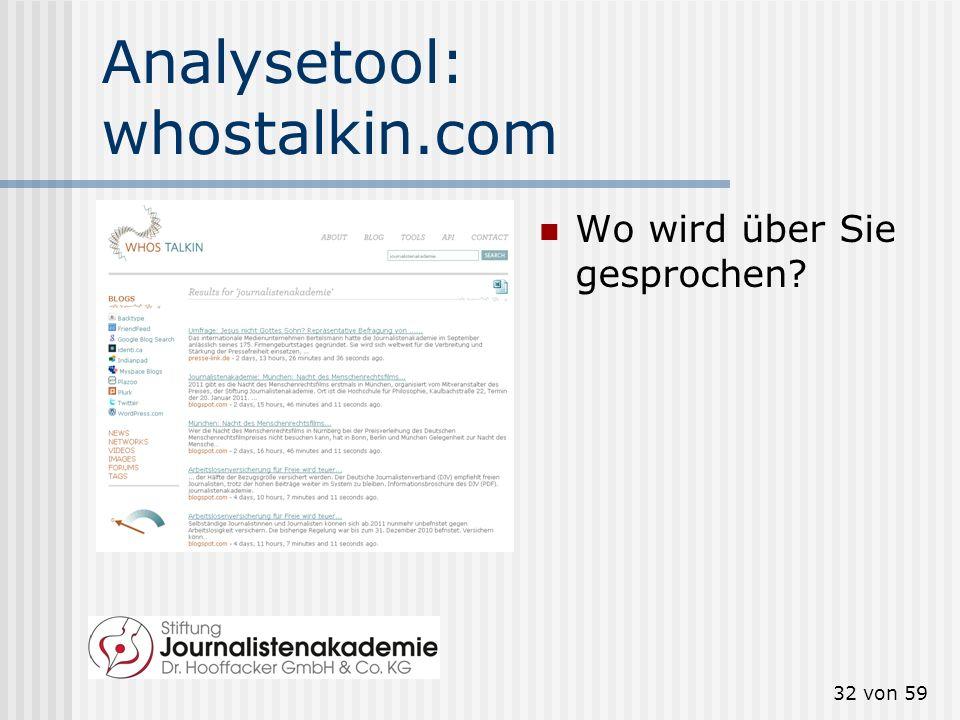 Analysetool: whostalkin.com