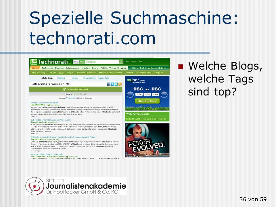 Spezielle Suchmaschine: technorati.com