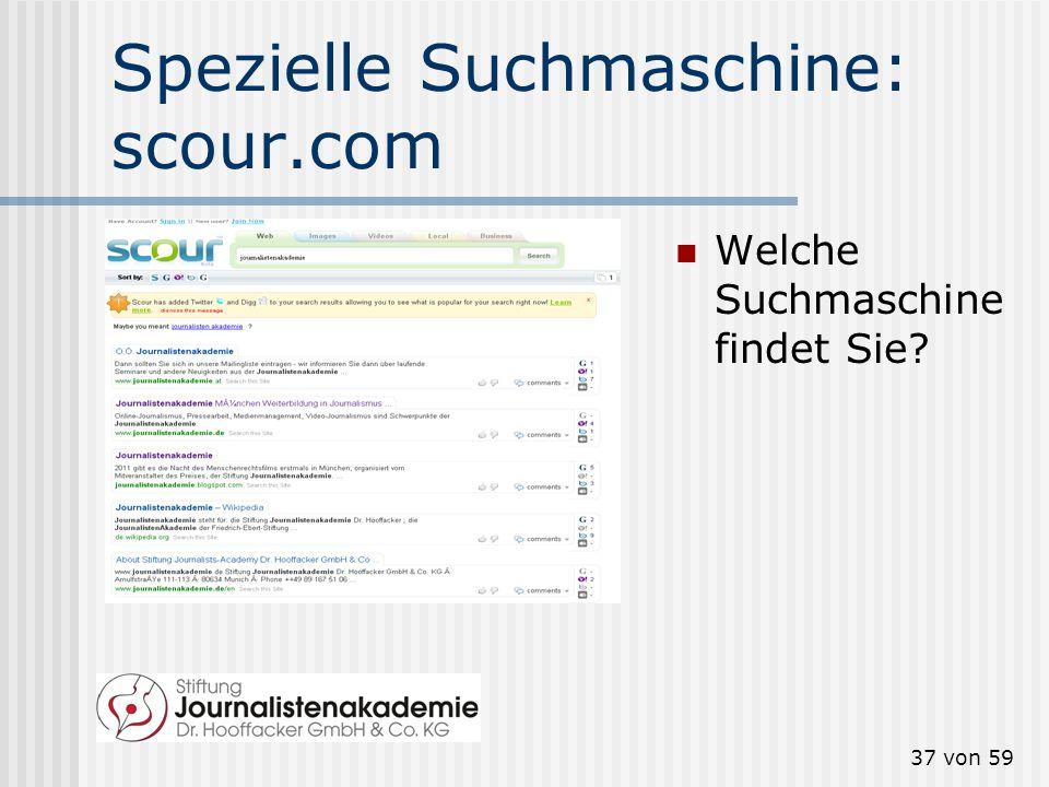 Spezielle Suchmaschine: scour.com