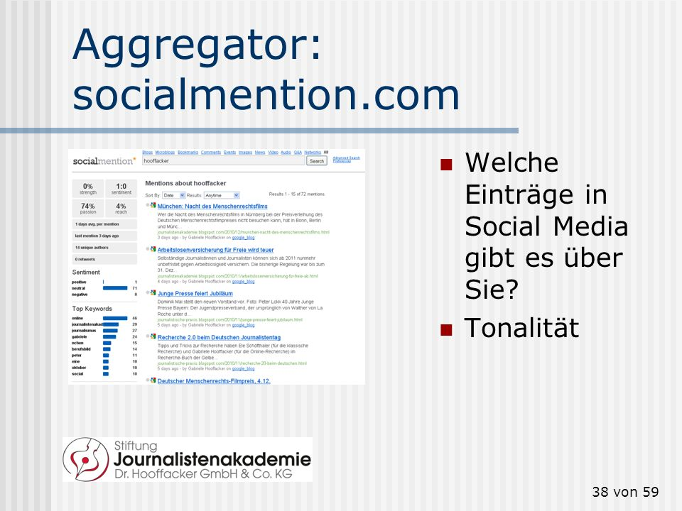 Aggregator: socialmention.com