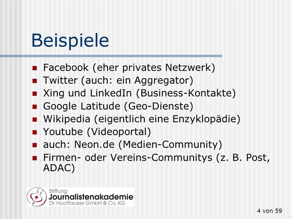 Beispiele Facebook (eher privates Netzwerk)