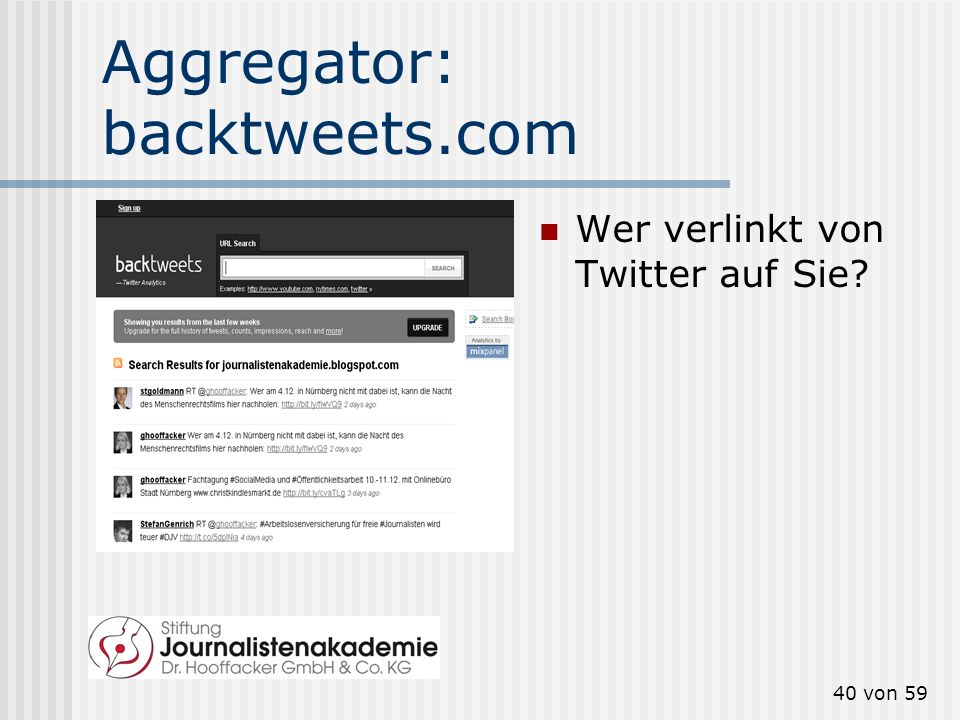 Aggregator: backtweets.com