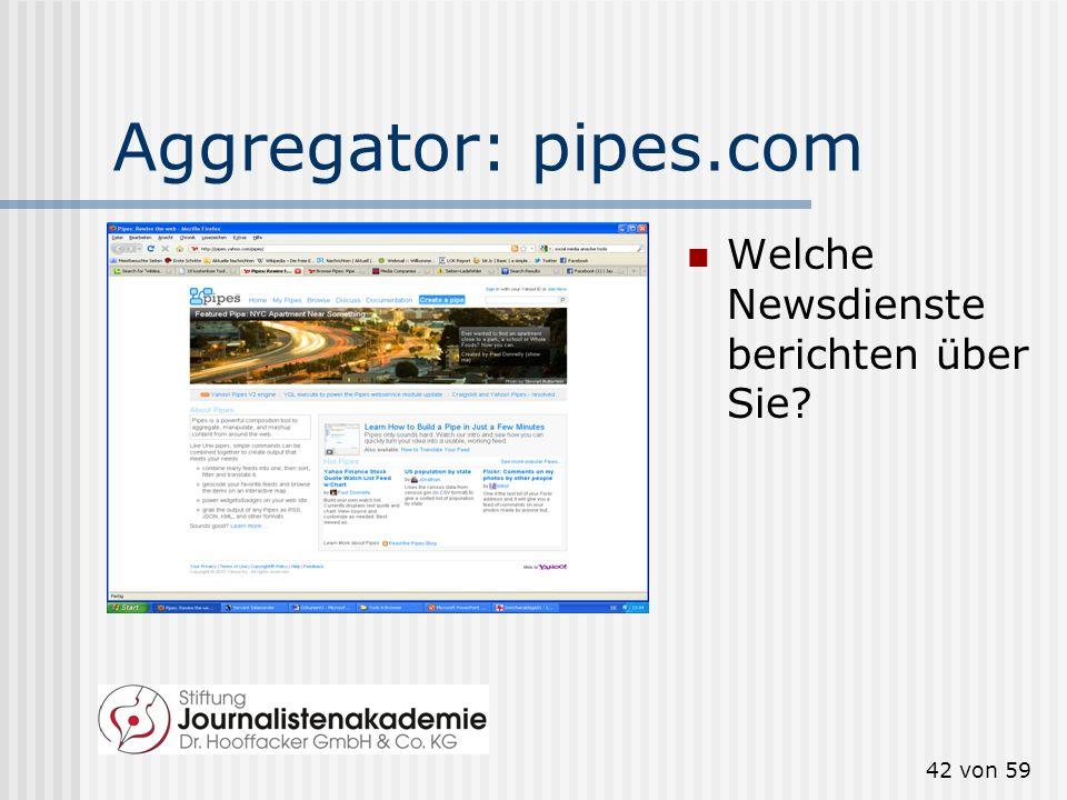 Aggregator: pipes.com Welche Newsdienste berichten über Sie
