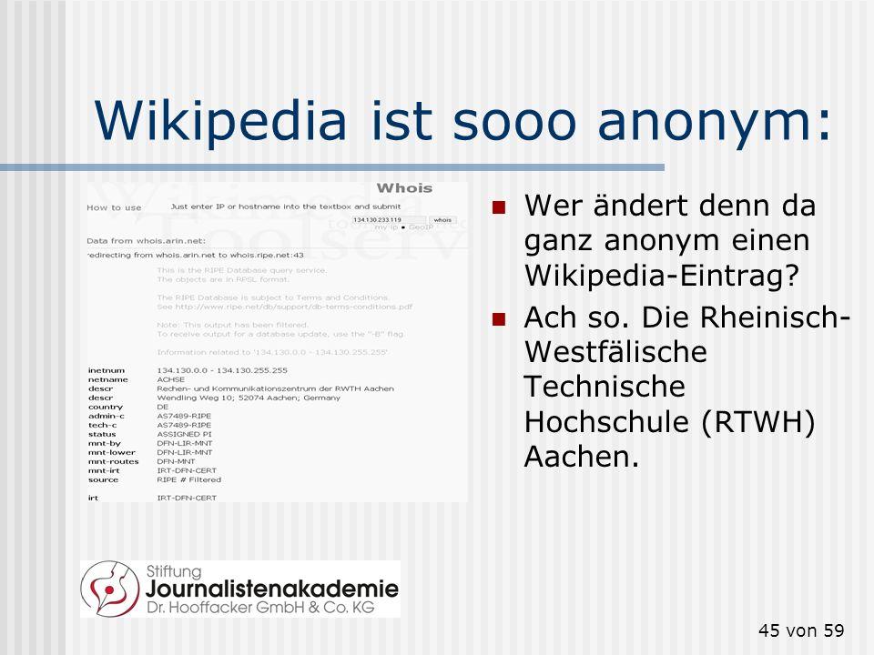 Wikipedia ist sooo anonym: