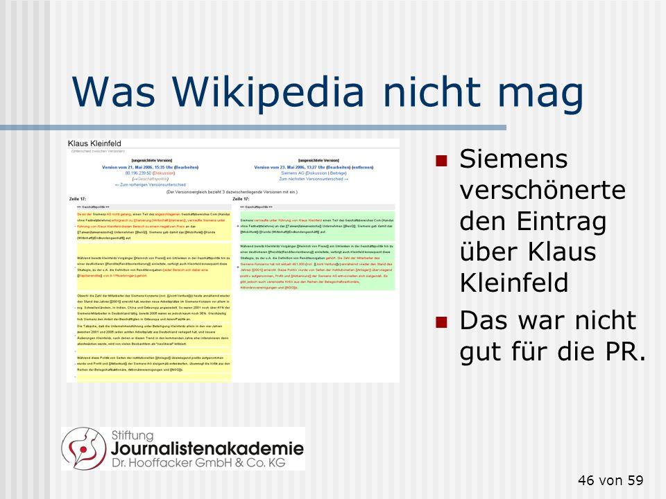 Was Wikipedia nicht mag