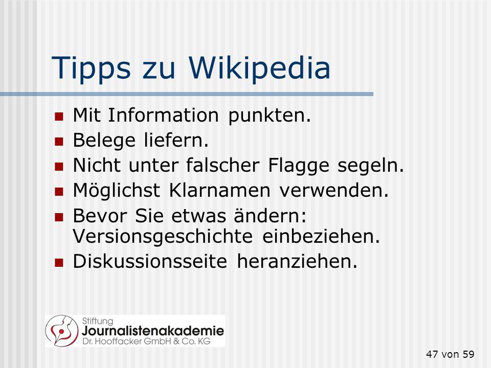 Tipps zu Wikipedia Mit Information punkten. Belege liefern.
